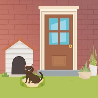 Illustrateur de vecteur de dessin animé chat