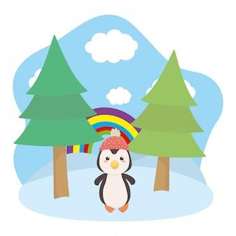 Illustrateur de vecteur de dessin animé pingouin