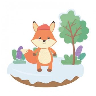 Illustrateur de vecteur de dessin animé renard