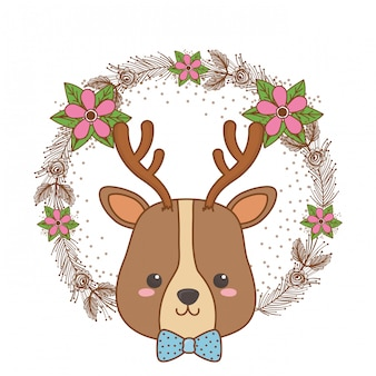 Illustrateur de vecteur pour le dessin animé rennes