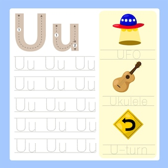 Illustrateur de vocabulaire de dessin animé az exercice u