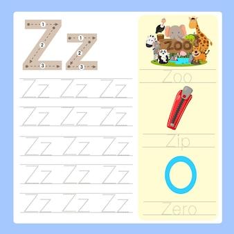 Illustrateur de vocabulaire de dessin animé az exercice z