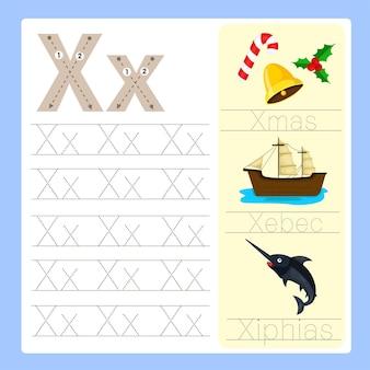 Illustrateur de vocabulaire de dessin animé x exercice az