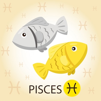 Illustrateur de zodiac avec poissons