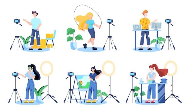 Illustratiion du concept de blogging vidéo. idée de créativité et de création de contenu, métier moderne. des personnages enregistrant des vidéos avec des caméras pour leur blog.