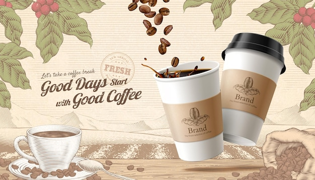 Illustration 3d des annonces de café togo style de gravure fond de scène rustique avec des haricots torréfiés