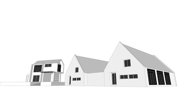 Illustration 3d architecturale de croquis de bâtiment, lignes de perspective de bâtiment d'architecture