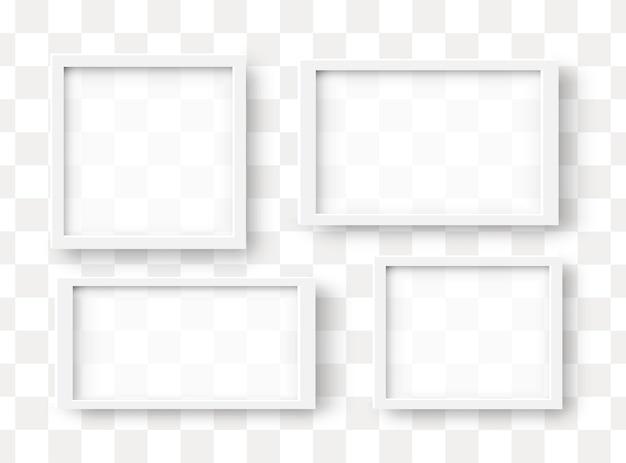 Illustration 3d de cadres carrés réalistes. modèles de maquette de cadre photo blanc blanc sur fond de demi-teintes