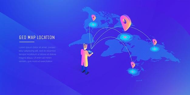 Illustration 3d de la carte du monde des communications mondiales