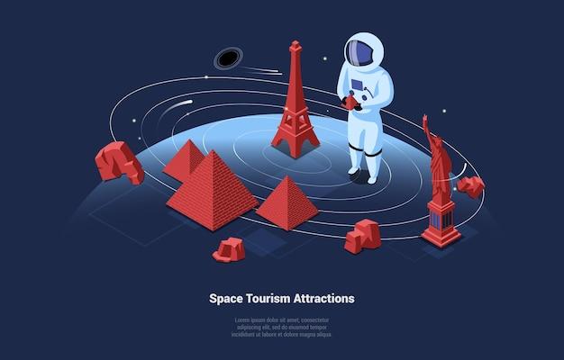 Illustration 3d dans le style de dessin animé des attractions touristiques spatiales