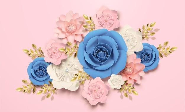 Illustration 3d de décorations de fleurs en papier élégantes