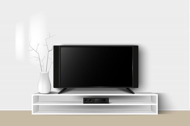 Illustration 3d du meuble tv led sur une table en bois. salon intérieur design intérieur moderne.