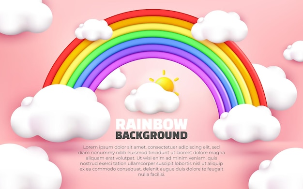 Illustration 3d du style de dessin animé de fond pastel rose arc-en-ciel