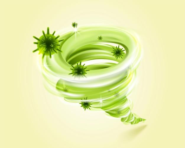Illustration 3d du vortex vert emportant les mauvais germes et concept de virus