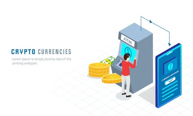 Illustration 3d de l'homme paiement bitcoin de l'atm au smartphone sur fond blanc pour le concept de devises crypto.