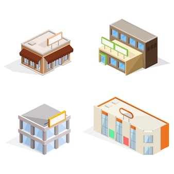Illustration 3d isométrique de bâtiments commerciaux
