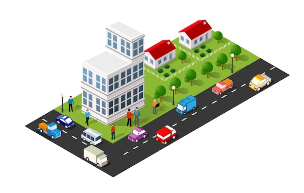 Illustration 3d isométrique du quartier de la ville avec des maisons, des rues, des gens, des voitures