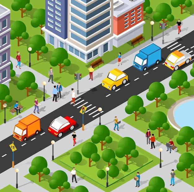 Illustration 3d isométrique du quartier de la ville avec des maisons