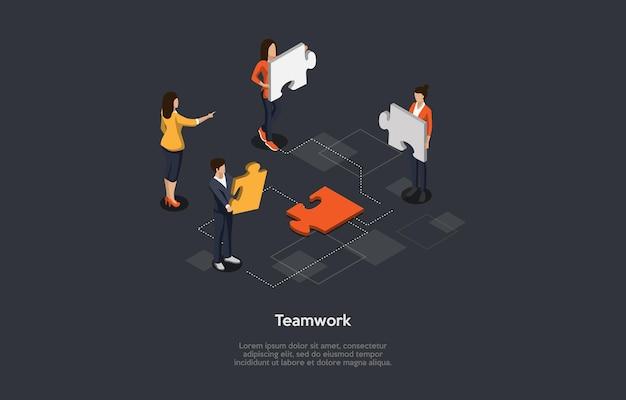 Illustration 3d isométrique du travail d'équipe de bureau