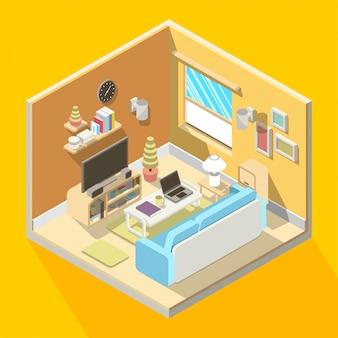 Illustration 3d isométrique de l'intérieur du salon