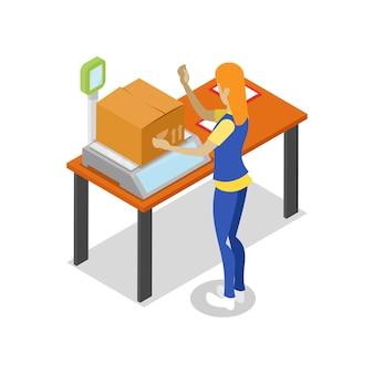 Illustration 3d isométrique de la logistique d'entrepôt