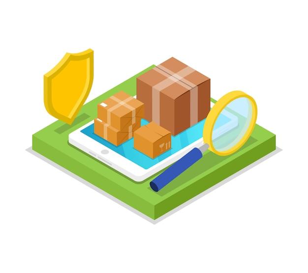 Illustration 3d isométrique de la logistique de livraison