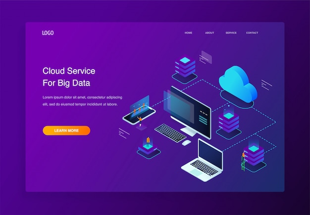 Illustration 3d isométrique personnes interagissant avec des services de cloud computing, page de destination