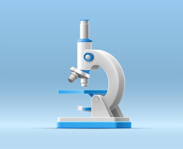 Illustration 3d avec microscope de dessin animé sur fond isolé pour la conception médicale