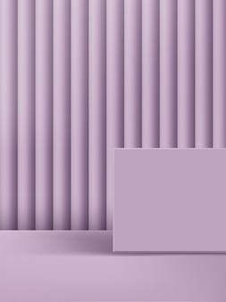 Illustration 3d plate-forme et fond violet pastel monochrome minimal.