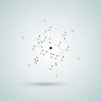 Illustration 3d polyèdre noir.