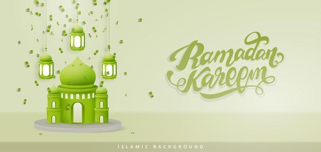 Illustration 3d réaliste fond ramadan kareem avec mosquée et lantens