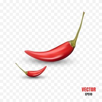 Illustration 3d réaliste de piments forts isolés
