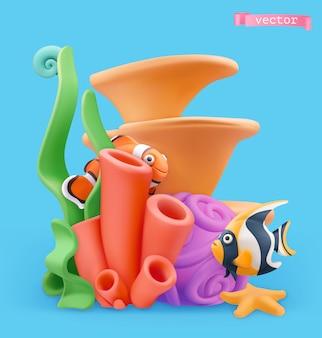Illustration 3d de récifs coralliens et poissons