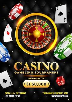 Illustration 3d de la roue de roulette avec des jetons de casino