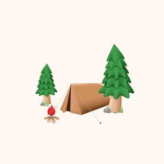 Illustration 3d de scène d'événement en plein air de camping d'été