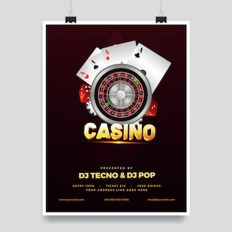Illustration 3d de texte doré casino avec roue de roulette