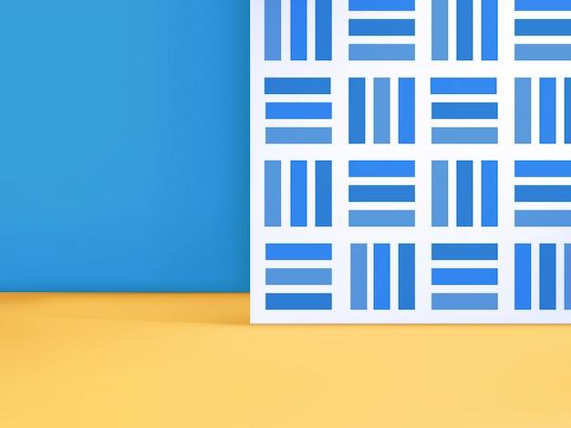 Illustration 3d trendy minimal geometric studio shot background avec motif de thème d'été et couleur pour l'affichage du produit.