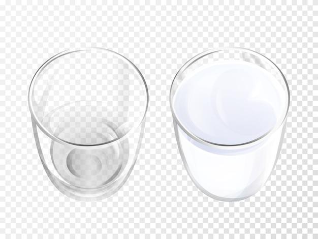 Illustration 3d de verre de lait de la vaisselle réaliste pour la vue de dessus de boisson ou de yogourt de laiterie.