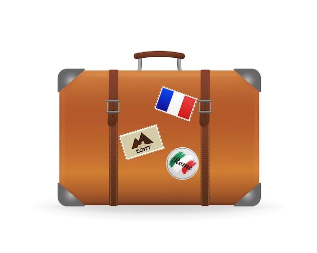 Illustration 3d vintage avec valise sur fond blanc valise rétro
