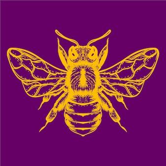 Illustration d'abeille icolor lueur