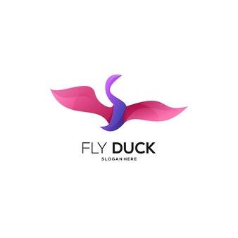 Illustration abstraite colorée de dégradé de logo de canard de mouche