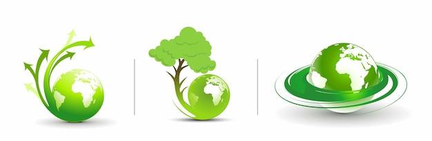 Illustration abstraite avec conception de terre écologique flèche tourbillon. illustration vectorielle.