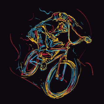 Illustration abstraite de coureur de bmx coloré coloré