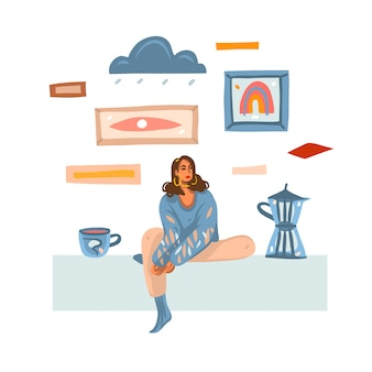 Illustration abstraite dessinée à la main avec une jeune femme mélancolique faisant et buvant du café à la maison isolé sur fond blanc