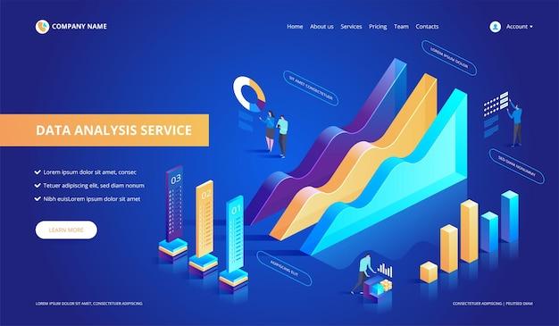 Illustration abstraite isométrique du service d'analyse de données.