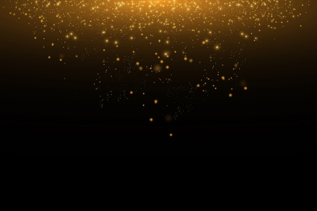 Illustration abstraite de nuage doré glitter wave. poussière d'étoile d'or traînée de particules scintillantes sur fond noir. concept.