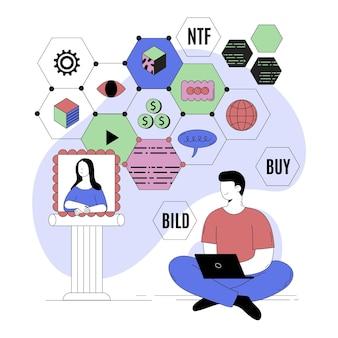 Illustration abstraite de la personne faisant de la crypto