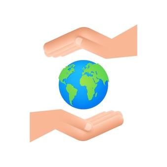 Illustration abstraite avec la terre dans les mains. joyeux jour de la terre. signe de la planète. tirage au sort à la main.