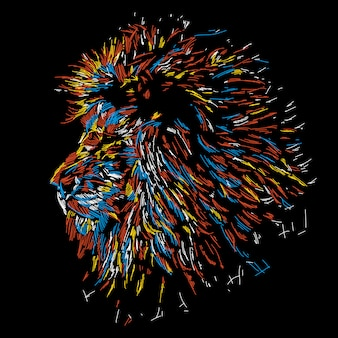Illustration abstraite tête de lion coloré
