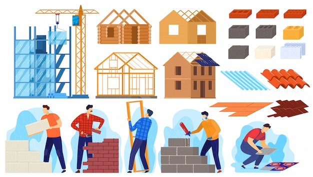 Illustration de l'activité de construction de construction, personnages de travailleurs actifs de dessin animé construire une maison, constructeurs faisant du travail de construction